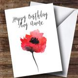Watercolour Poppy Customised Birthday Card