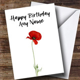 White Poppy Customised Birthday Card
