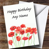 Poppy Flowers Floral Customised Birthday Card