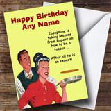 Funny Pancake Tosser Customised Birthday Card