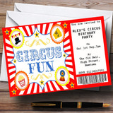 Red Circus Ticket Theme Customised Birthday Party Invitations