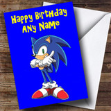 Sonic The Hedgehog Blue Customised Birthday Card