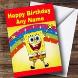 SpongeBob Squarepants Rainbow Customised Children's Birthday Card