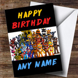 Customised Five Nights At Freddy's Fnaf All Characters Children's Birthday Card
