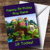 Customised Minecraft Party Characters Creepers Children's Birthday Card