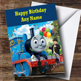 Customised Blue Thomas The Tank Engine Children's Birthday Card