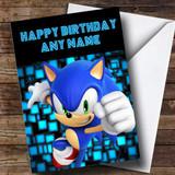 Customised Black Sonic The Hedgehog Children's Birthday Card