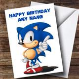 Customised White Sonic The Hedgehog Children's Birthday Card