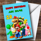 Customised Pale Blue Super Mario Children's Birthday Card