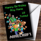 Customised Minecraft Logo Black Children's Birthday Card