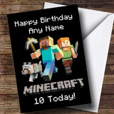 Customised Minecraft Logo Children's Birthday Card