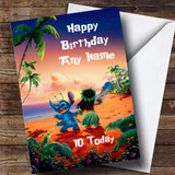 Customised Lilo & Stitch Children's Birthday Card