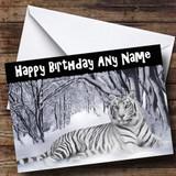 Stunning White Tiger Customised Birthday Card