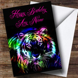 Colourful Tiger Customised Birthday Card