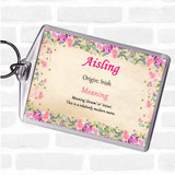 Aisling Name Meaning Keyring Floral