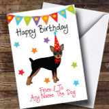 To From Pet Dog Miniature Pinscher Customised Birthday Card