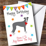 To From Pet Dog Italian Greyhound Customised Birthday Card