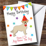 To From Pet Dog Golden Retriever Customised Birthday Card