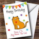 To From Pet Cat Ginger & White Customised Birthday Card