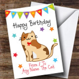 To From Pet Cat Tortoiseshell Customised Birthday Card