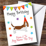 To From Pet Dog Basset Hound Customised Birthday Card