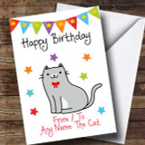 To From Pet Grey & White Cat Customised Birthday Card