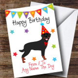To From Pet Dog Rottweiler Customised Birthday Card