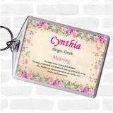 Cynthia Name Meaning Keyring Floral