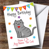 To From Pet Grey Tabby Cat Customised Birthday Card