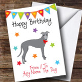 To From Pet Dog Greyhound Customised Birthday Card