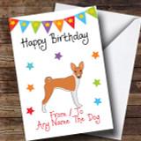 To From Pet Dog Basenji Customised Birthday Card
