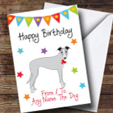 To From Pet Dog Whippet Customised Birthday Card