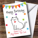 To From Pet Cat White Customised Birthday Card