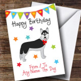 To From Pet Dog Husky Customised Birthday Card
