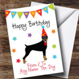 To From Dog Doberman Customised Birthday Card