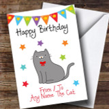 To From Pet Grey Cat Customised Birthday Card