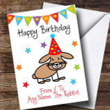 To From Pet Rabbit Customised Birthday Card
