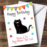 To From Cat Black Customised Birthday Card