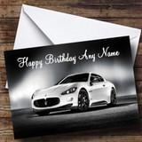 Maserati Granturismo White Customised Birthday Card
