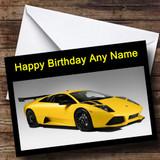 Lamborghini Murcielago Yellow Customised Birthday Card