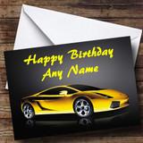 Yellow Lamborghini Gallardo Customised Birthday Card
