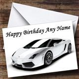 White Lamborghini Gallardo Customised Birthday Card