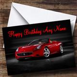 Red Ferrari California Customised Birthday Card