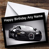Black Bugatti Car Customised Birthday Card