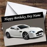 White Aston Martin Vantage V Customised Birthday Card
