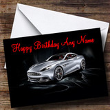 Silver Aston Martin Vanquish Customised Birthday Card