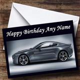 Silver Aston Martin Car Customised Birthday Card