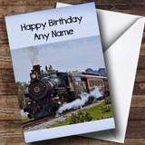 Old Locomotive Steam Train Customised Birthday Card