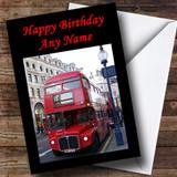 Red London Bus Customised Birthday Card