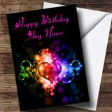 Colourful Love Heart Romantic Customised Birthday Card